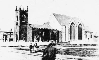 A photo of the church showing the original building (left) and half of the new 1880's building.