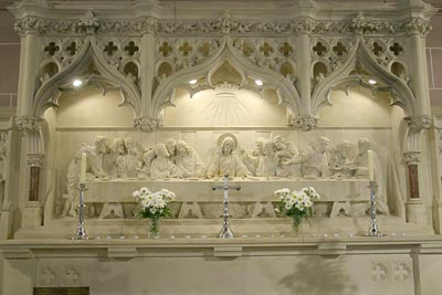 A close up of the Reredos.